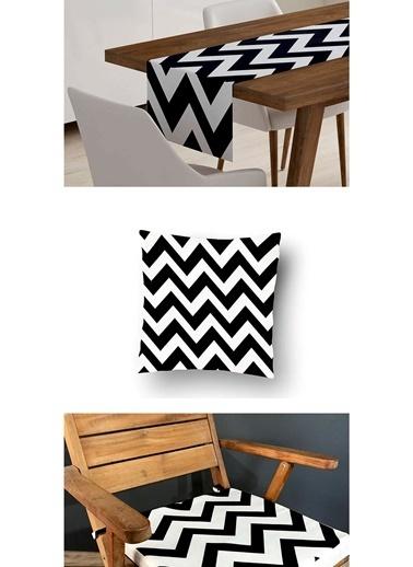 Lyn Home & Decor 3'lü Kombin Siyah Beyaz Zigzag Renkli